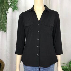 J. McLaughlin Brynn Lyford Jersey Shirt Black L